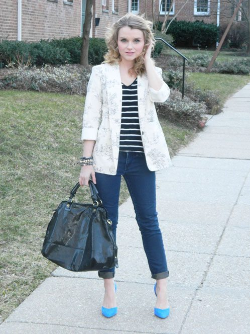Poor Little It Girl ASOS Blazer, ZARA T-shirt and Heels, Paige Jeans and Marc Fisher Bag