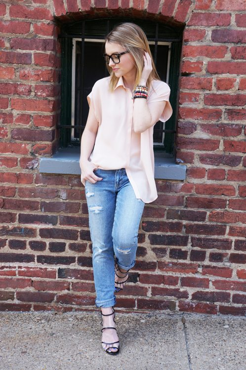 Poor Little It Girl in American Eagle Jeans and Michael Stars Top - Spring Denim Series