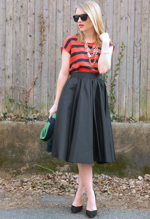 Poor Little It Girl in a Madewell Top, Vintage Skirt and ZARA Heels