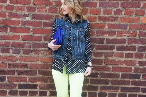 Poor Little It Girl in Express Neon Jeans, PopBasic Top and Madewell Denim Vest