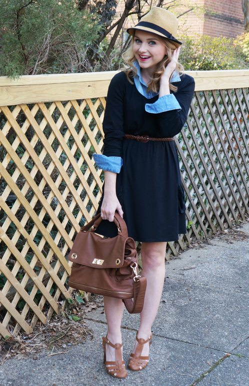 Poor Little It Girl in LOGO by Lori Goldstein dress and J.Crew Chambray Shirt