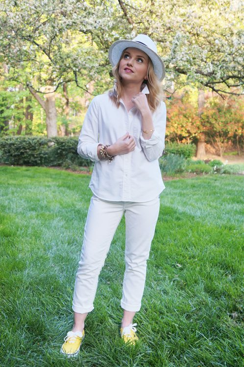 Poor Little It Girl in white Silver Jeans - Bloggers Do Denim