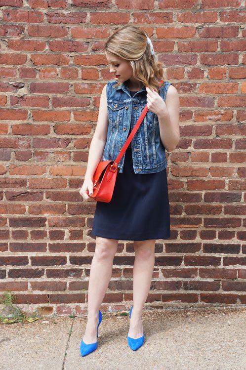 Poor Little It Girl in Gap Dress, Madewell Vest, Truvow Bag and ZARA Heels!