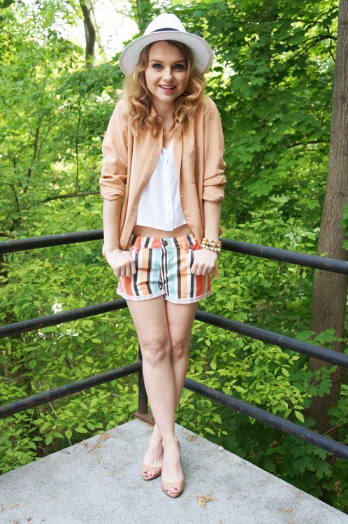 Poor Little It Girl in BCBGeneration Shorts, Madewell Blouse, Urban Outfitters tank and David & Young Hat