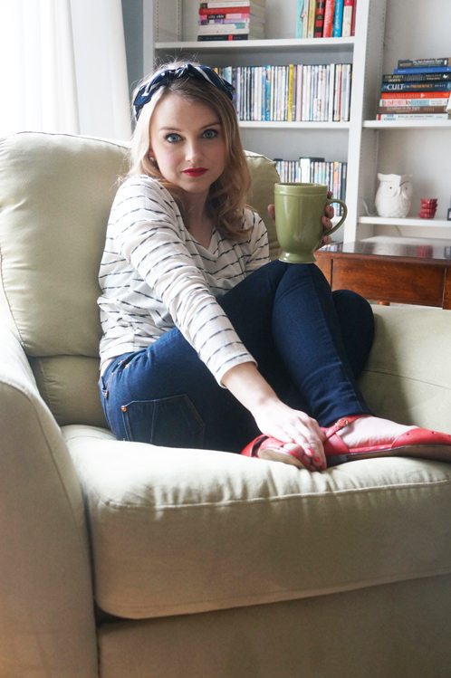 Poor Little It Girl at home in BCBGeneration Top, James Jeans and Madewell Shoes