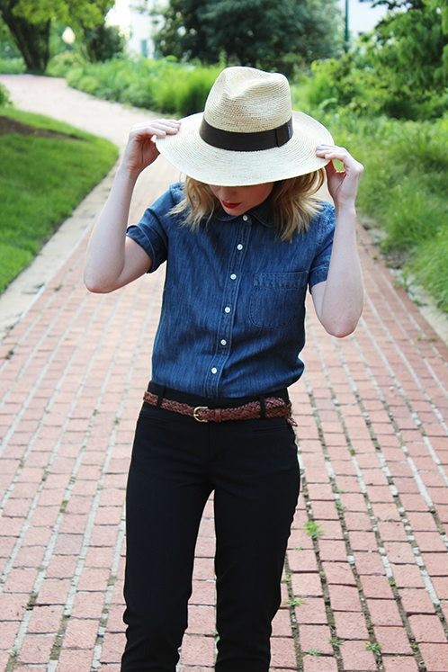 Poor Little It Girl in J.Crew top, Madewell belt, and Gap pants