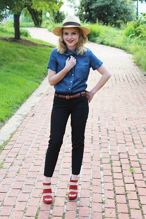 Poor Little It Girl in J.Crew top, Madewell belt, and Gap pants