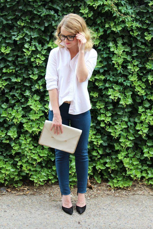 Poor Little It Girl in Madewell Top, Levi's Jeans, Zara Heels
