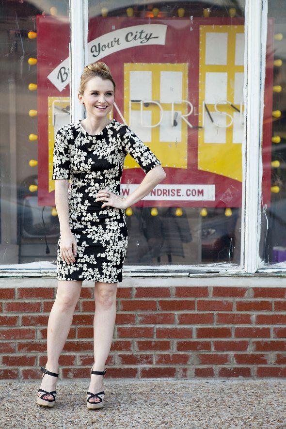 Poor Little It Girl in Warehouse Dress and Foreign Exchange Heels