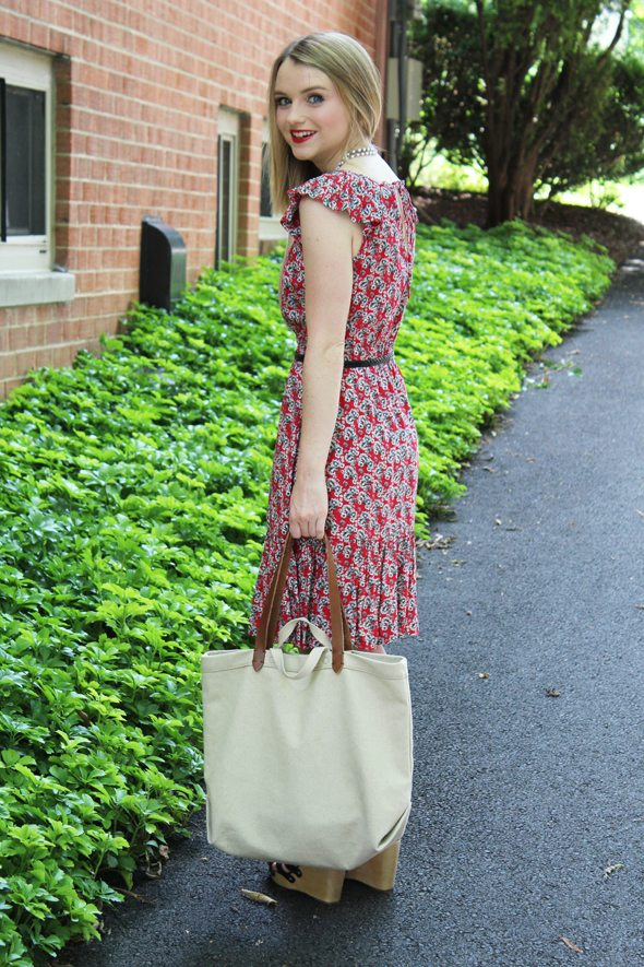 Poor Little It Girl in Warehouse Dress, Sweet and Spark Necklace, Gap Wedges, Madewell Tote and Urban Outfitters Belt