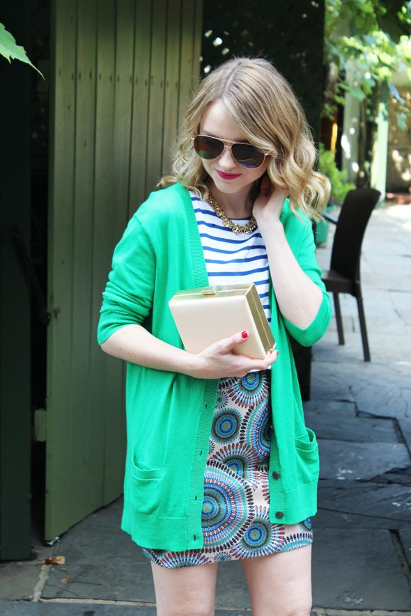 Poor Little It Girl in Green Gap Cardigan, Blue Striped J.Crew T-Shirt, Foreign Exchange Skirt, Navy Sole Society Heels