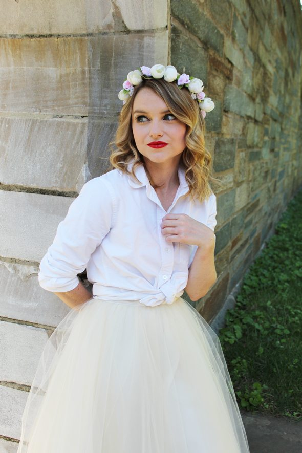 Poor Little It Girl in Anthropologie Tulle Skirt, Madewell Shirt and Flower Crown Society Floral Crown