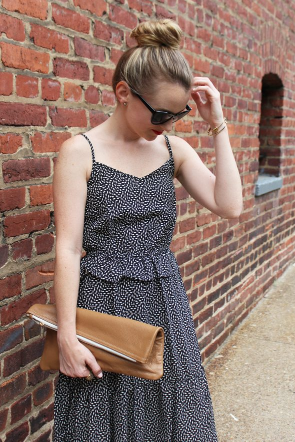 Poor Little It Girl in Target Dress, Lulu's Heels, PopBasic Clutch and Fantas-Eyes Sunnies!
