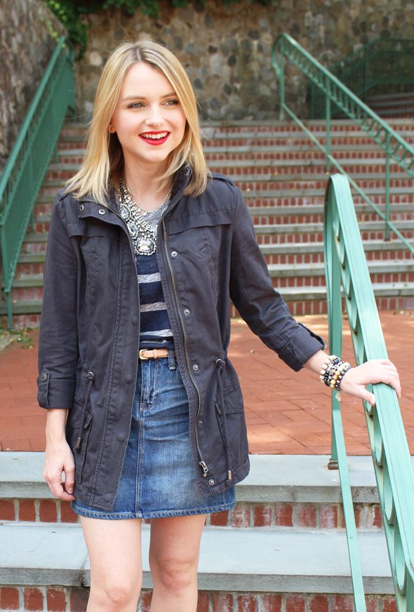 Poor Little It Girl in Gap Denim Skirt, J.Crew Striped T-shirt, Aeropostale Cargo Jacket, Madewell Heels and Revlon Red Lipstick