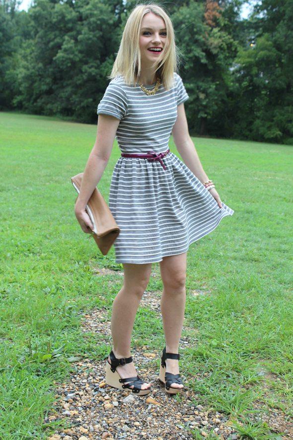 Poor Little It Girl in Warehouse Striped Dress, Target Purple Belt and Gap Black Wedges