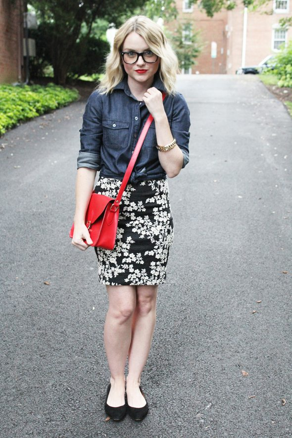Poor Little It Girl in J.Crew Chambray Shirt, Warehouse Oriental Dress and Madewell Black Skimmers