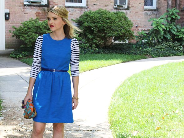 Poor Little It Girl in Madewell Blue Afternoon Dress, Tolani Striped Scarf, Target Blue Belt, PopBasic Striped T-shirt and Madewell Heels