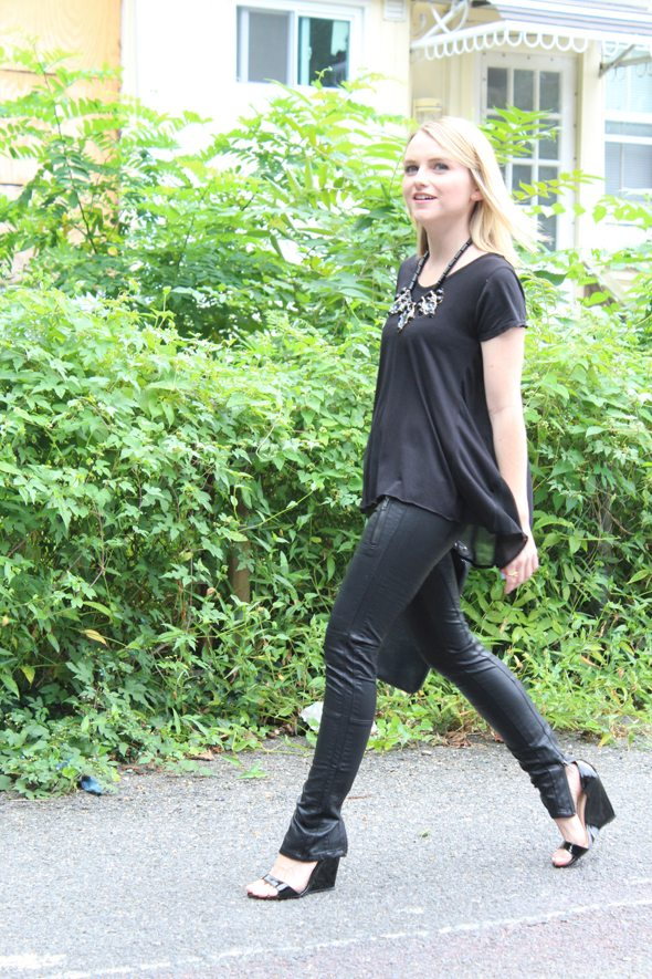 Poor Little It Girl in Talia Hancock Top, Blank NYC Faux Leather Pants and Bamboo Black Patent Wedges