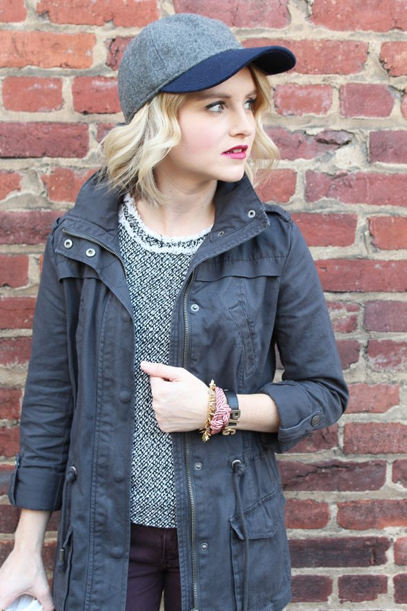Poor Little It Girl in J.Crew Baseball Cap, Aeropostale Utility Jacket, Paige Denim Jeans, J.Crew Tweed Shirt, DSW Booties