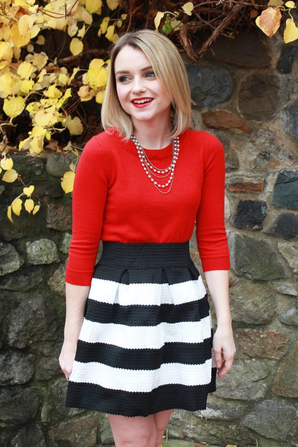 Poor Little It Girl - Style Revel Black and White Stripe Skirt, J.Crew Tippi Red Sweater and Zara Black Heels