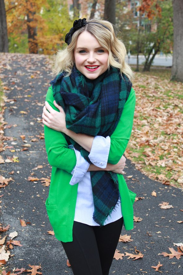 Poor Little It Girl - Gap Green Cardigan, VoyVoy and The College Prepster Blue Button Down Shirt, Zara Plaid Scarf, Zara Black Leggings