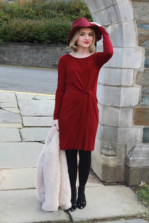 Poor Little It Girl - Ali Ro Burgundy Dress, Anthropologie Sherpa Coat, Sole Society Ankle Strap Black Heels and Lulu's Burgundy Wool Fedora