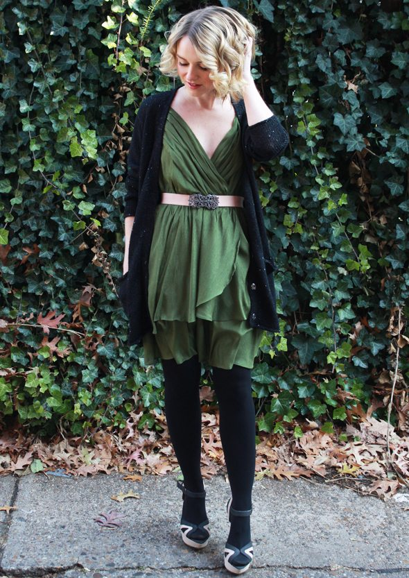 Poor Little It Girl - Scissortail Clothing Green Party Dress, Michael Stars Black Cardigan, BCBGMAZAZRIA belt, Express Black Opaque Tights and Foreign Exchange Heels