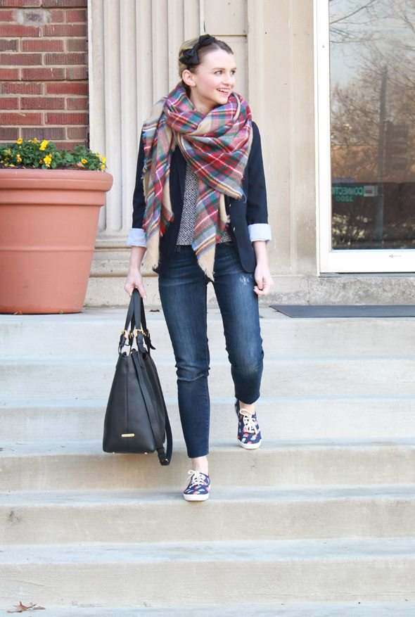 Poor Little It Girl in Gap Navy Blazer, ZARA plaid scarf, Paige Denim Destructed Jeans and Keds x Kate Spade New York Sneakers