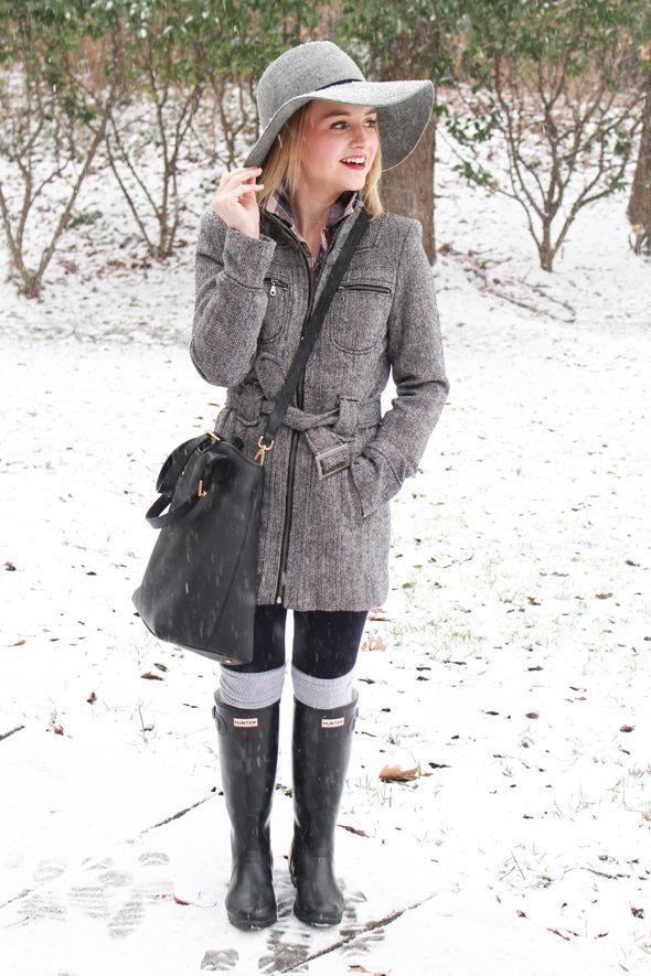 Poor Little It Girl - G by Guess Gray Coat, Anthropologie Wool Hat and Hunter Rain Boots