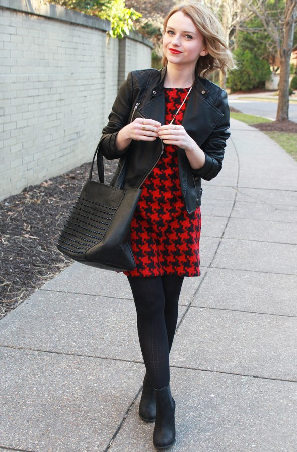 Poor Little It Girl - Warehouse Faux Leather Jacket, Target Red Houndstooth Dress, Sole Society Black Booties and Anthropologie Pendant Necklace