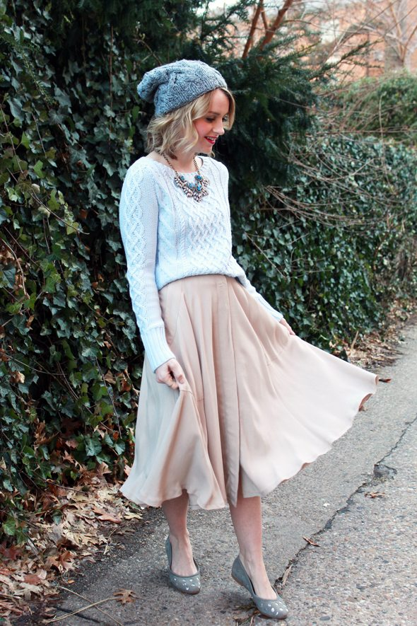 Poor Little It Girl - Gap Cable Knit Sweater, Madewell Midi Skirt, BaubleBar Necklace and Anthropologie Flats