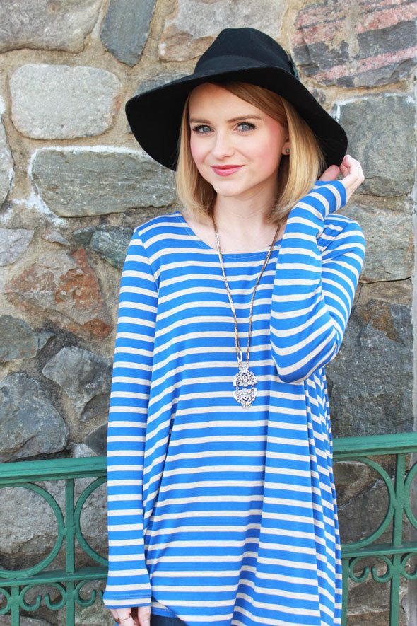 Poor Little It Girl - Anthropologie Blue Striped Shirt, Black Wool Hat and Pendant Necklace
