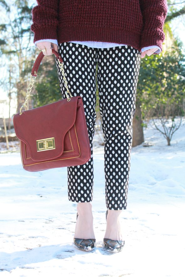 Poor Little It Girl in Topshop Burgundy Sweater, Banana Republic Black and White Polka Dot Pants and Sole Society Black Heels