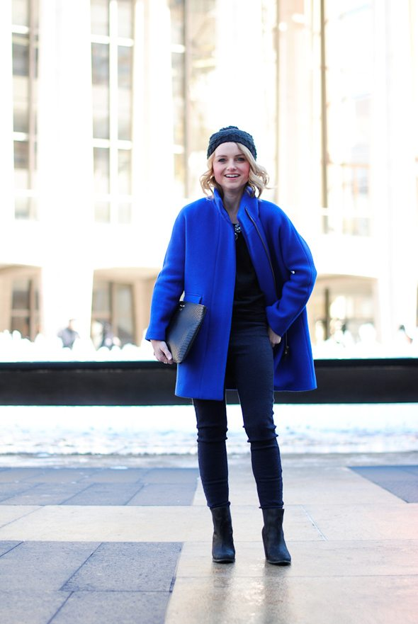 Poor Little It Girl in NYC - J.Crew Cobalt Blue Coat, Oasis Skinny Jeans and Gap Basic Black Tee
