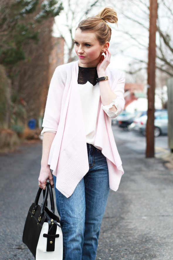 Poor Little It Girl - Calypso St. Barth Pink Cashmere Cardigan, Abercrombie Boyfriend Jeans and Club Monaco Silk Blouse
