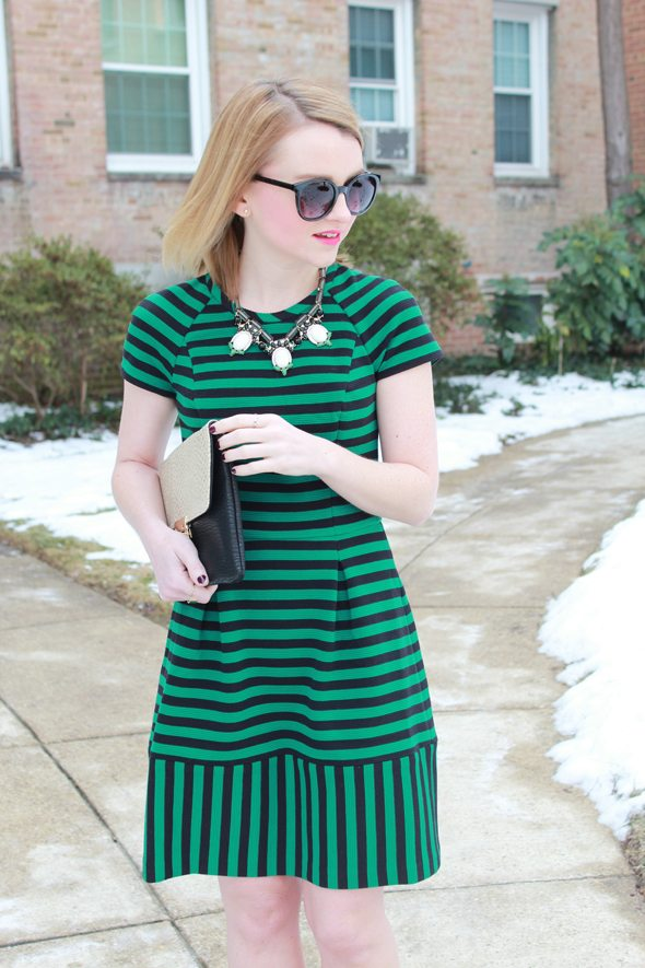 Poor Little It Girl - Banana Republic Green Striped Dress, Anthropologie Sherpa Coat, C.Wonder Leopard Print Pumps