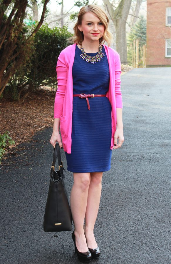 Blue Dress And J Crew Pink Cardigan Poor Little It Girl
