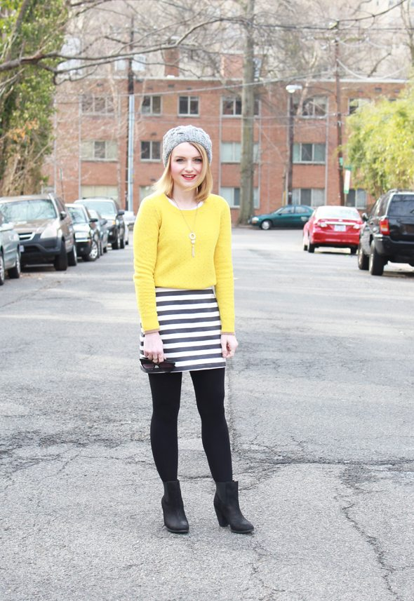 Poor Little It Girl - Madewell Yellow Sweater, Piperlime Navy and White Striped Skirt, Aeropostale Gray Beanie and Sole Society Black Booties