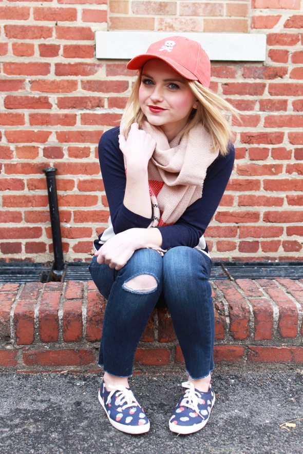 Poor Little It Girl - Gap Baseball Tee, Paige Denim Destructed Jeans and Waiting On Martha Skull Baseball Cap