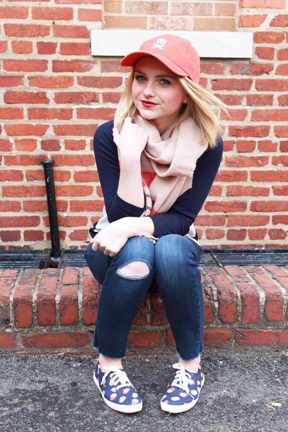 Poor Little It Girl - Gap Baseball Tee, Paige Denim Destructed Jeans and Waiting On Martha Skull Baseball Cap