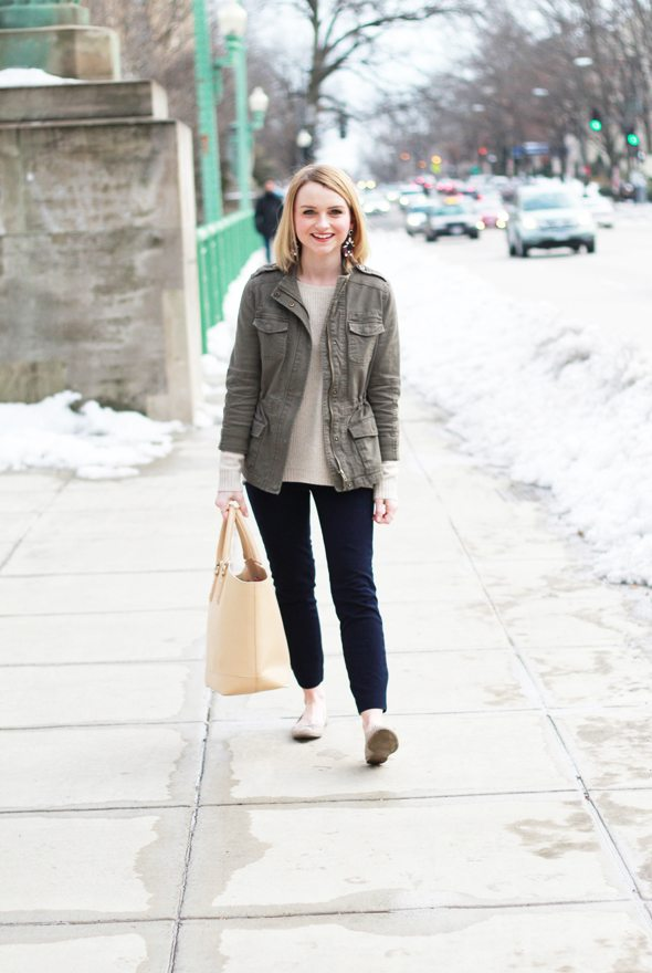 Poor Little It Girl - J.Crew Elbow Patch Sweater and Minnie Crop Pants and Gap Ballet Flats