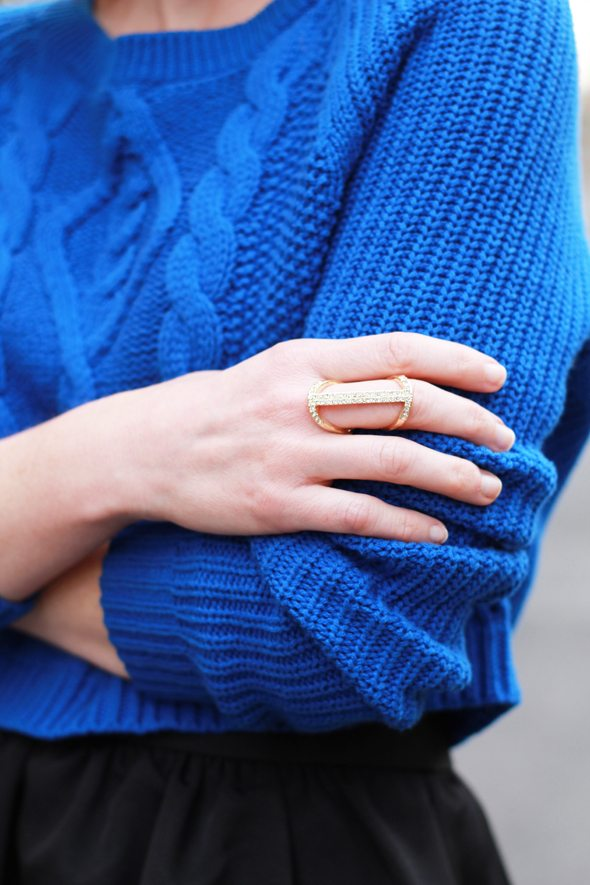 Poor Little It Girl in Express Cobalt Blue Cropped Sweater and Black Midi Skirt