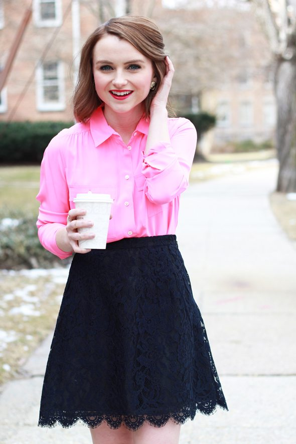 Poor Little It Girl - Report for Aeropostale White Flats, J.Crew Hot Pink Silk Blouse and J.Crew Navy Lace Skirt