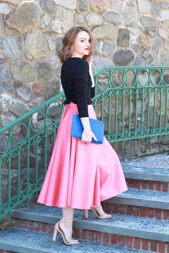 Poor Little It Girl - Gap Black T-shirt, ASOS Pink Midi Skirt, Zara Nude Heels