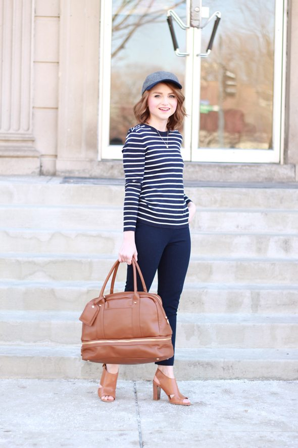 Poor Little It Girl - Gap Navy and White Striped Sweater, J.Crew Navy Minnie Crop Pants and Marc Fisher Tan Heels