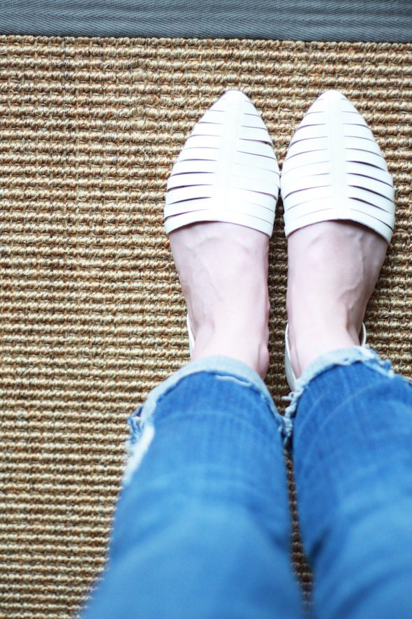 Poor Little It Girl - Report White Woven Flats at Aeropostale and James Jeans Boyfriend Denim