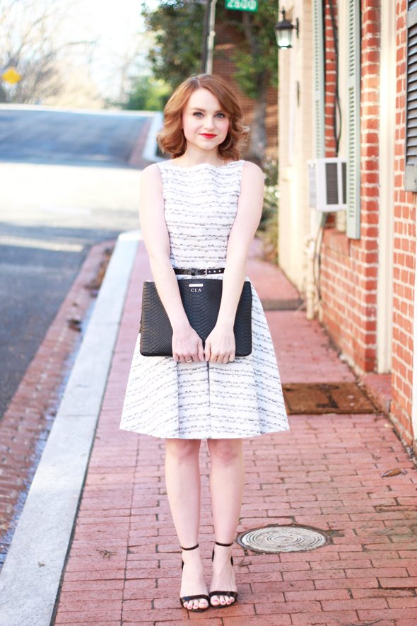 Poor Little It Girl - Paint The Town Symphony Music Note Dress, Gap Black Leather Belt, Lulu*'s Patent Black Ankle Strap Wedges and Gigi New York Monogram Clutch