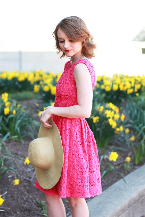 Poor Little It Girl - Cynthia Steffe Pink Lace Dress, David & Young Reversible Hat and Zara Nude Ankle Strap Heels