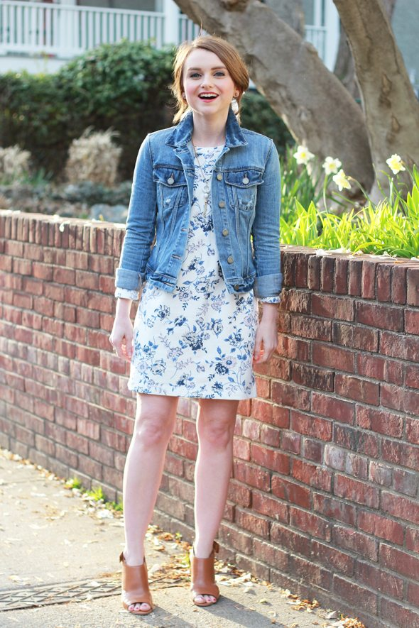 Poor Little It Girl - Gap Floral Sweatshirt Dress, Paige Denim Jacket and Marc Fisher Tan Heels