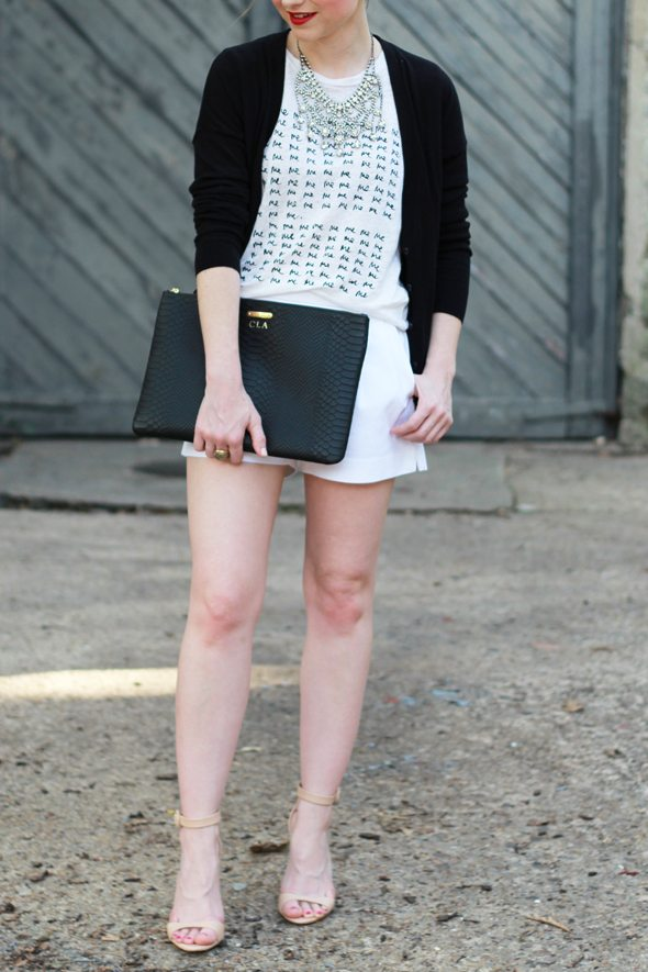 Poor Little It Girl - Gap Black Cardigan, J.Crew White Pleated Shorts, Zara Nude Sandals